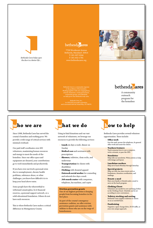 Spreads of Bethesda Cares brochure