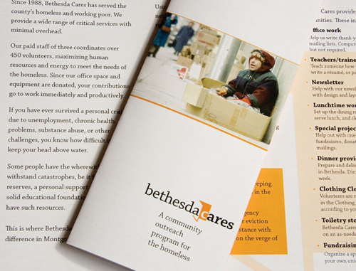 Detail shot of Bethesda Cares brochure