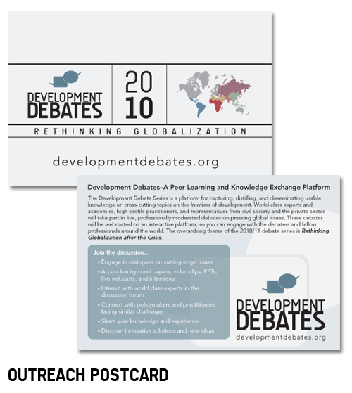 Development Debates outreach postcard
